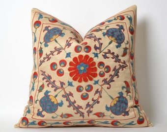 Suzani Pillow Cover - Uzbek Hand Embroidered Floral Decorative Throw Home Decor Pillow Cushion Cover, Accent Pillow, housewarming gift