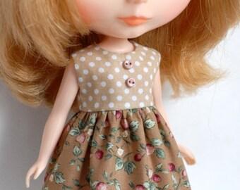 Blythe beige strawberry polka dot dress