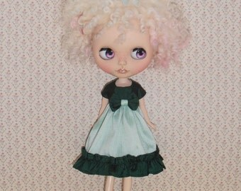 Blythe Silk Dress Empire Line ~ Green Ruffles & Bow ~ Blythe Doll Clothes Outfit