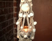 Mini macrame seashell plant hanger - candle holder -  wall hanging - from Texas beach - glass container included