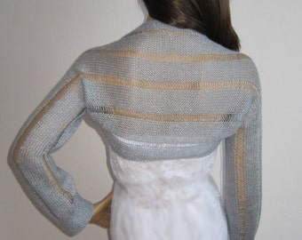 Silver Shrug, Bridal Bolero, Evening Shrug, Grey Shrug, Bridal Cover Ups