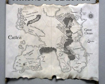 Map of Erilea, Map of the World of Throne of Glass, Sarah J. Maas, Throne of Glass Map, Heir of Fire Map, Queen of Shadows Map