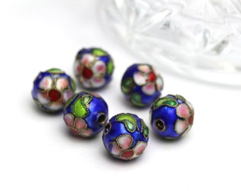 Vintage Cloisonné Round Beads in Blue  with a beautiful design 10mm 6pcs