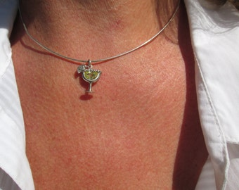 Margarita Glass Pendant in Sterling Silver Necklace