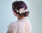 bridal hair clip, floral hair vine, flower hair clip, floral hair clip, blush hair clip, wedding hair clip, flower hair vine - GRACE