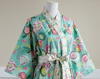 Maternity Robe Kimono Hospital Gown with pockets • XS - Plus Sizes 3xl • Pregnancy Robe • Nursing • Short / Long • Cotton CP Green Aqua Pink