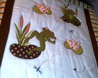 Frogs Flannel Baby Quilt