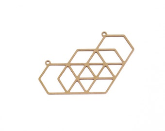 Geometrical Hexagon Pendant, 1 Pc Raw Brass Connector,  Exclusive at Goldie Supplies