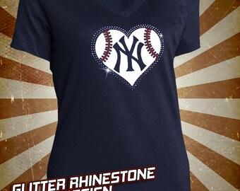 New York Yankees Baseball Rhinestone Glitter Bling T-shirt - Ladies Vneck