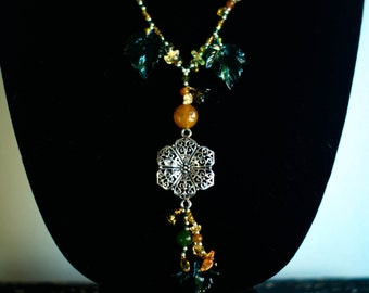 Unique Gift Fall Autumn Necklace & Earrings Set- Natural Leaf Flower Sophiticated and Classy   Glass, Acrylic, Sterling Silver and Crystal