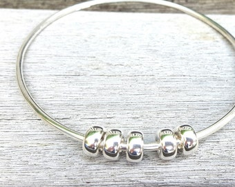 HandcraftedSterling Silver 925 Fidget/Worry/ Abacus Bangle with Sterling Silver Beads (Hallmarked)