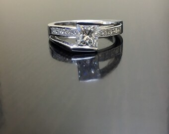18K White Gold Princess Cut Diamond Engagement Ring - 18K Gold Diamond Wedding Ring - Princess Cut Diamond Solitaire - 18K Diamond Ring
