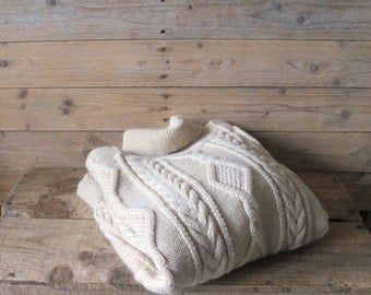 Vintage Bergere de France oversized Aran knit Wool fisherman cable Sweater