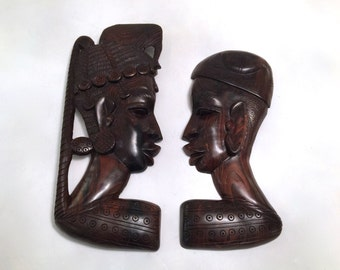 Vintage Pair of African Wall Hangings - African Profiles - African Art - African Ebony Wall Hanging - Hand Carved African Art Ebony