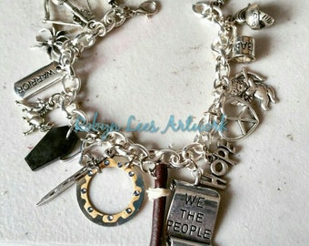 Chunky Xena Inspired Charm Bracelet with Chakram, Gabrielle's Staff, Argo Horse, Warrior, Coffin, Cupid, Dagger, Sword, Peace Heart, Spider