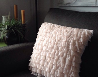 Blush Ruffle Pillow Cover