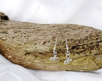 ballerina  ballet tutu  drop silver pendant earrings