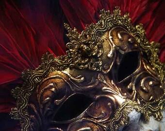 Venice Photography, Venetian Mask, Italian Wall Art Decor, Travel Photography, Red Gold Home Decor