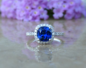 Sapphire Engagement Ring, Blue Sapphire Ring, Sapphire and Diamond Ring, Engagement Ring, 14kt, Size 6, IN STOCK