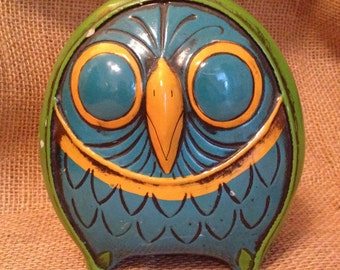 Vintage Mid Century Funky Retro Paper Mache MOD Green Blue Floral Owl Bank Coin Box