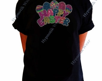 "Girls Rhinestone/Rhinestuds T-Shirt "" Neon Happy Easter with Rhinestuds and Rhinestones "" Size XS to XL"