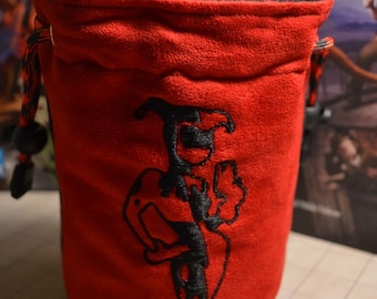Dice Bag custom Embroidery Suede Harley Quinn and diamonds double embroidery