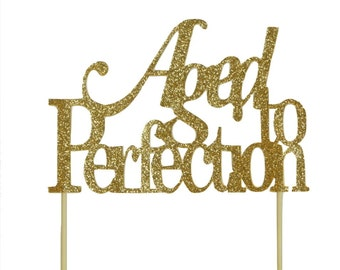 Gold Aged-to-perfection Cake Topper, 1pc