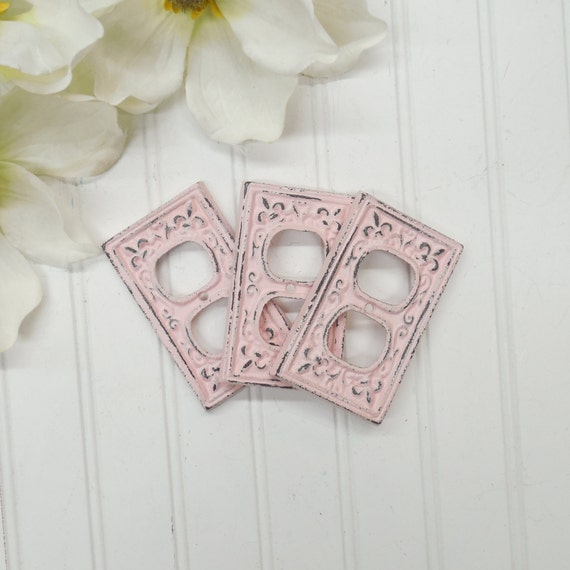 plug cover pink outlet cover shabby chic wall decor outlet