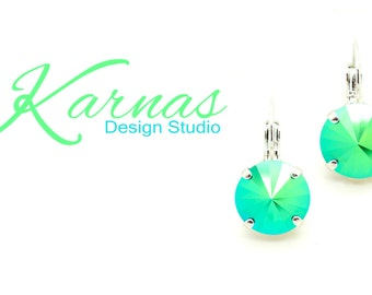 SCARABAEUS GREEN 12mm Crystal Rivoli Leverback Earrings Made With Swarovski Elements *Pick Your Finish *Karnas Design Studio *Free Shipping