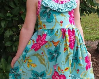 Girls Hawaiian Maxi Dress Hibiscus Maxi Dress Hawaiian Birthday DressGirls Resort Dress Girls Beach Dress Maxi Dress Sizes 3T-12 Handmade