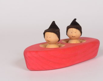 Red wooden rowboat, wooden bathing toy, wooden boat by l'Atelier Cheval de bois
