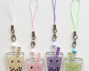 "Taro Matcha Strawberry Original Cute Kawaii Bubble Boba Milk Tea 1.5"" Acrylic Charm"