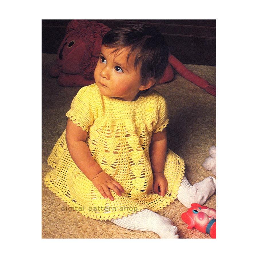 Baby Girls Crochet Dress Pattern Puff Sleeve Lace Dress
