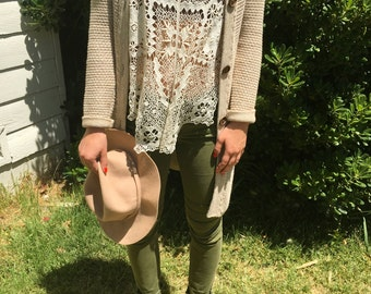 Oatmeal Knit Long-Line Grandma Sweater