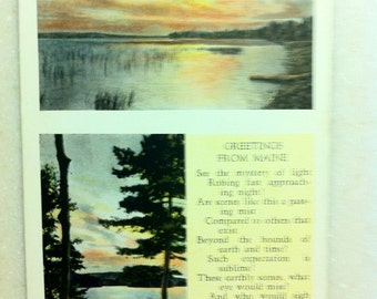 Me Linen Postcard Maine Greetings Maine Poem