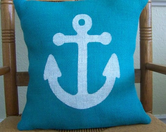 Anchor pillow cover, Beach pillow cover, Nautical pillow, Burlap pillow, Anchor stenciled pillow, Turquoise pillow, FREE SHIPPING!