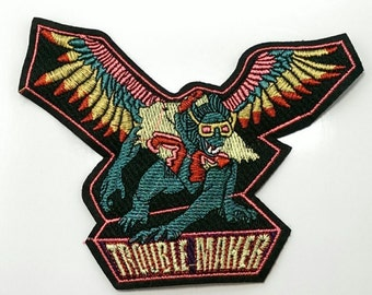 wizard of oz trouble maker retro embroidered sew on patch