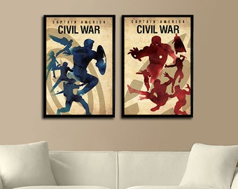 Vintage Captain America Civil War Posters - Set of 2 Posters