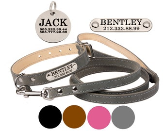 Personalized Leather Dog Collar Leash Set Pink Gray Brown Black Puppy to Extra Large
