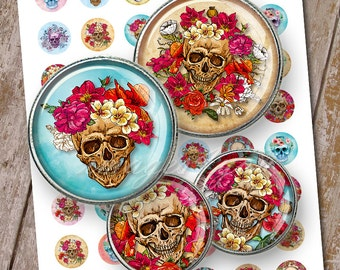 "Sugar Skulls & Roses 1 inch circles bottle cap images Halloween Digital Collage Sheet 30mm 25mm 1.25"" 1.5"" round printable download cabochon"