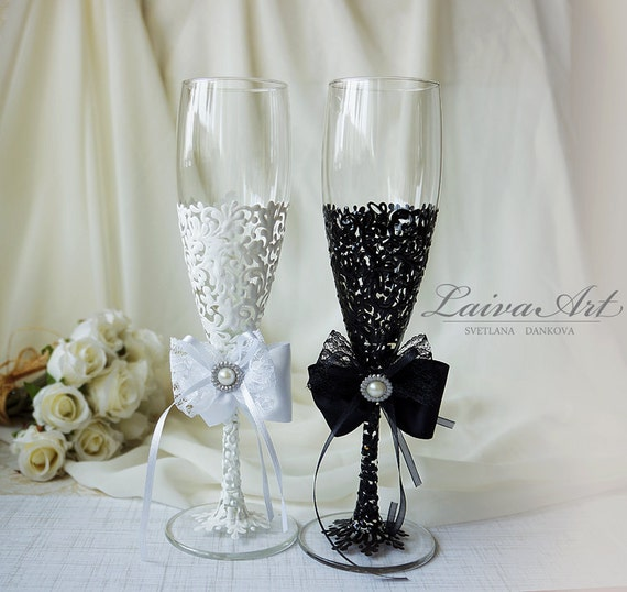 Wedding Champagne Flutes Black & White Wedding Champagne