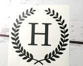 Single Initial Wheat Wreath Monogram Vinyl Decal Laurel Border Small Initial Sticker Vinyl Letter