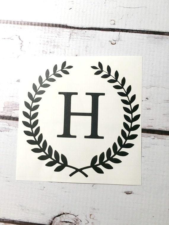 single initial wheat wreath monogram vinyl decal laurel border