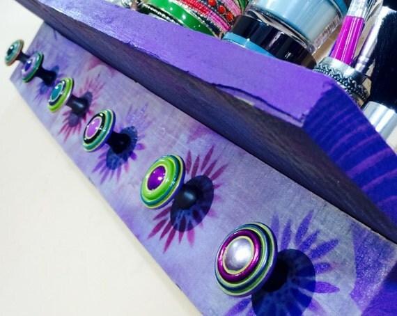 floating nightstand /pallet wood shelves /jewelry organizer wall decor hanging shelf /reclaimed wood art shelving purple flowers 6 knobs