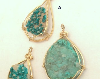 Dioptase or Aurichalcite Green Mineral Specimen Pendant. 10K Gold Wire Wrapped. free US ship