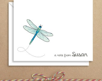 Dragonfly Note Cards - Folded Note Cards - Personalized Children's Stationery - Thank You Notes - Illustrated Note Cards