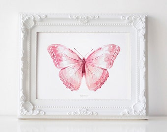 Pink Butterfly art print, Light pink art, PRINTABLE art print Girly wall art, Bedroom decor Nursery girl decor, Printable Butterfly wall art