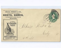 Geniune Kangaroo Shoes 1890 Advertising Cover Beals, Torrey & Co. Milwaukee, Wis