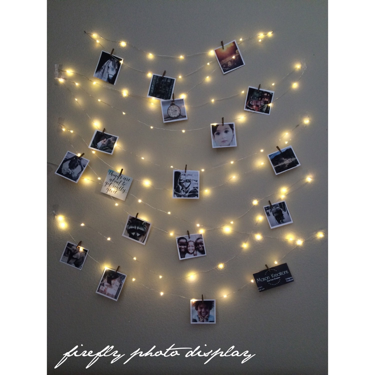 String Lights On Bed Frame : Fairy Lights Photo Display picture frame hanging lights