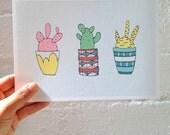A5 Art Print   Cacti Love